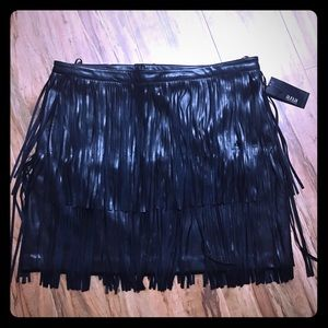 A.n.a. Black Faux leather skirt rows of fringe L